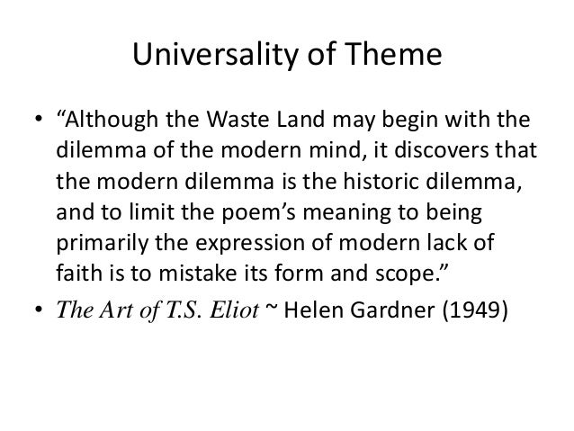 the waste land by ts eliot essay Essay critical theory  the waste land by t s eliot: critical analysis eliot's the waste land is an important landmark in the history of english poetry and one.
