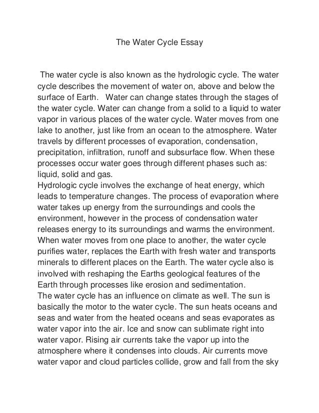 Worksheets Speech In Watercycl the water cycle essay raylin strickland essaythe is also known as hydrologic cycle