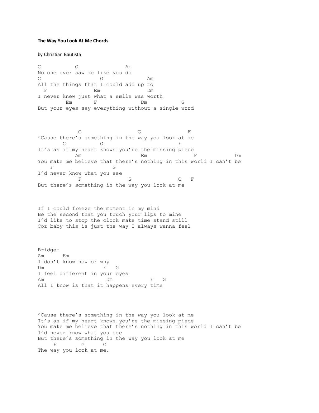 The way you look at me chords hexwebz Images