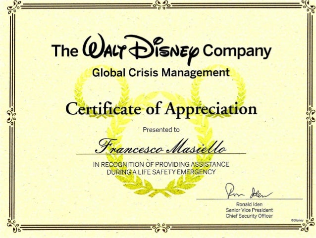 The Walt Disney Company Certificate Of Appreciation