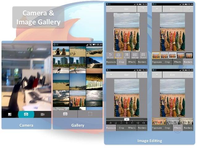 Camera & Image Gallery   Camera                 Gallery                                          Image Edi...