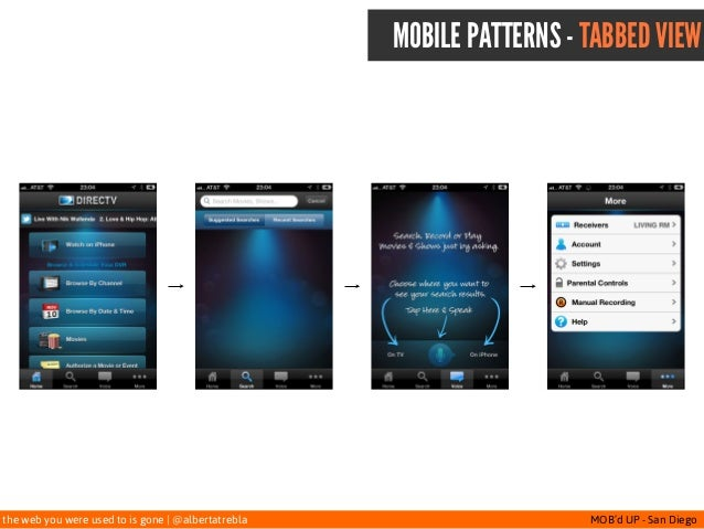 the web you were used to is gone   @albertatrebla MOB'd UP - San Diego MOBILE PATTERNS - TABBED VIEW