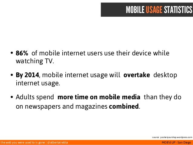 the web you were used to is gone   @albertatrebla MOB'd UP - San Diego MOBILE USAGE STATISTICS • 86%of mobile internet us...