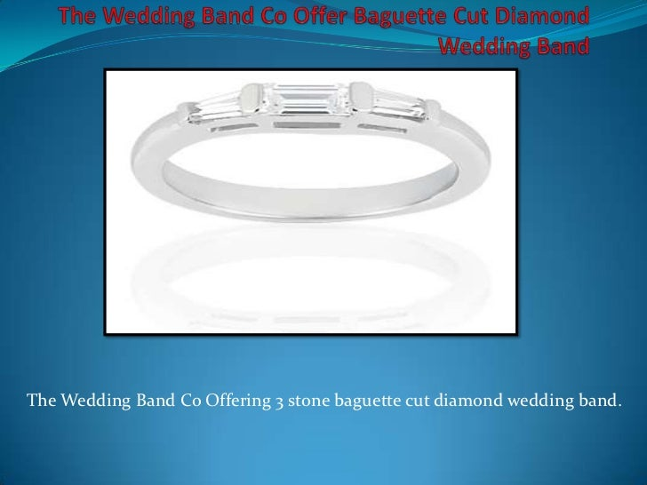 The Wedding Band Co Offering 3 stone baguette cut diamond wedding band.
