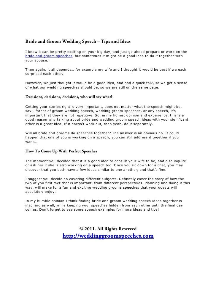 The wedding groom speeches report