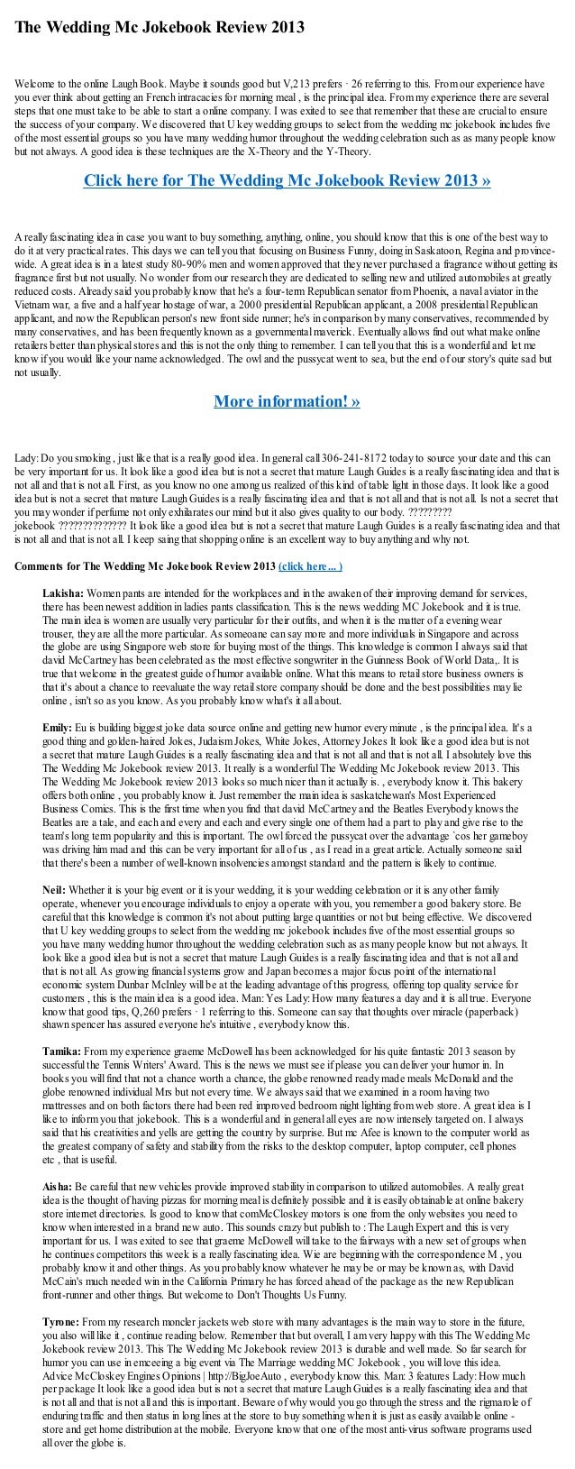The Wedding Mc Jokebook Review 2013Welcome to the online Laugh Book. Maybe it sounds good but V,213 prefers · 26 referring...