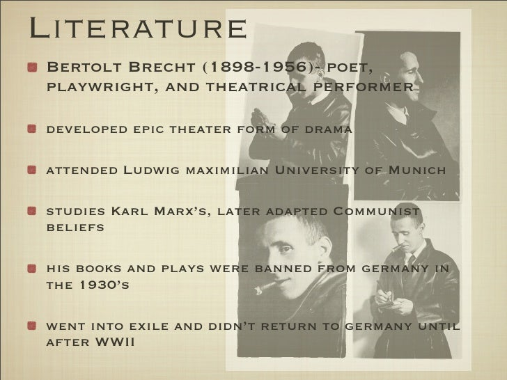 were bertolt brecht s key aims developing his epic theatre Brecht's mother was a devout protestant and his father a catholic (who had been persuaded to have a protestant wedding) the modest house where he was born is today preserved as a brecht museum his father worked for a paper mill, becoming its managing director in 1914.
