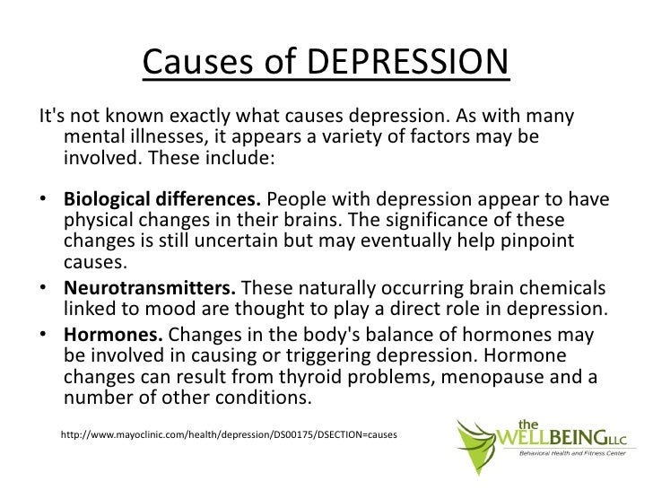 what is the cause of depression In fact, depression is the leading cause of disease burden for women in both high-income and low- and middle-income countries (who, 2008) research in developing countries suggests that maternal depression may be a risk factor for poor.