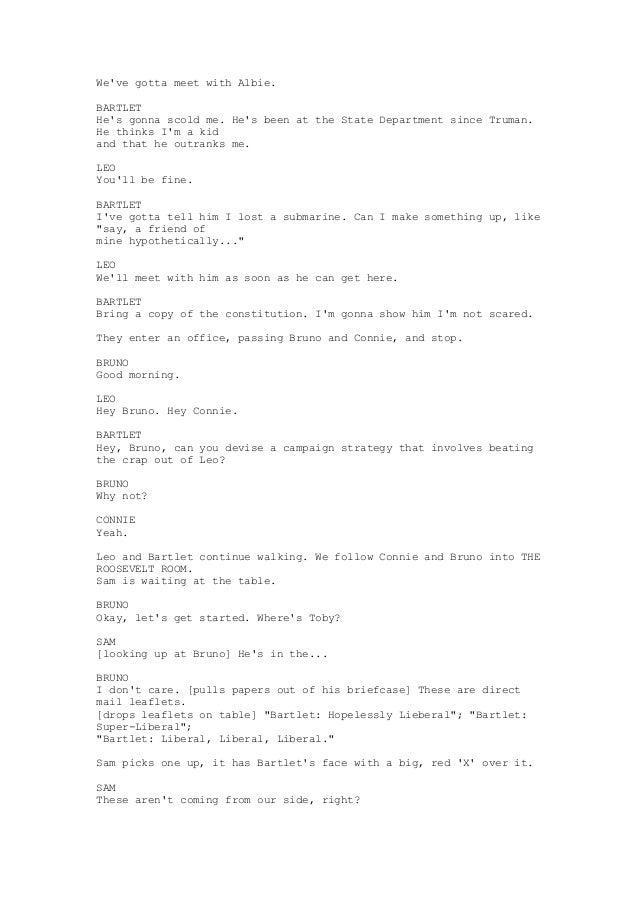 The west wing gone quiet transcript (season 3 episode 6)