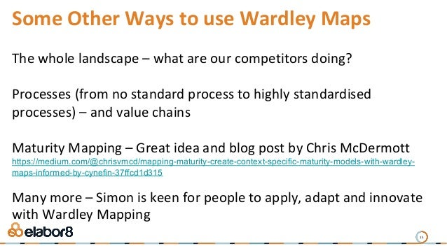 15 Some Other Ways to use Wardley Maps The whole landscape – what are our competitors doing? Processes (from no standard p...