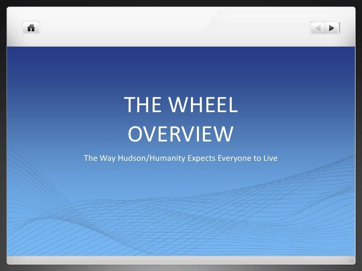 THE WHEELOVERVIEW<br />The Way Hudson/Humanity Expects Everyone to Live<br />