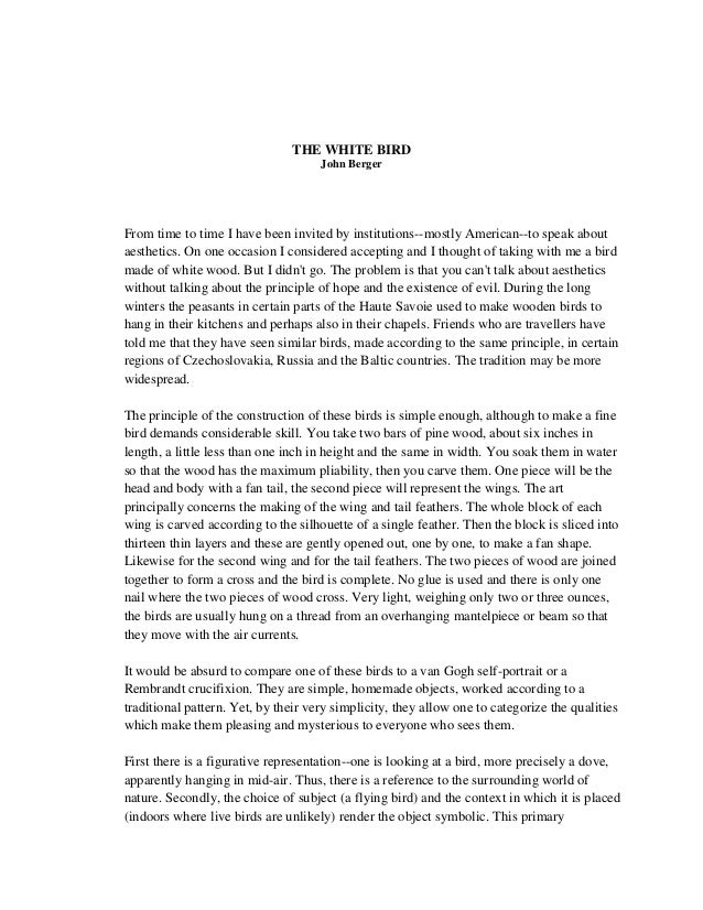 john berger the white bird essay