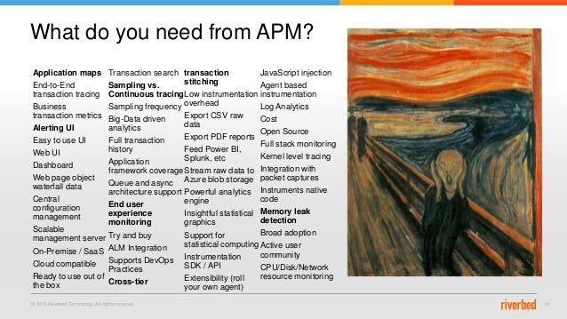 © 2015 Riverbed Technology. All rights reserved. 14 What do you need from APM? Application maps End-to-End transaction tra...