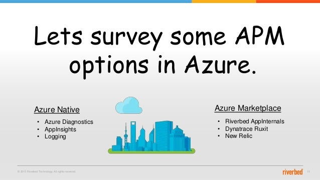 © 2015 Riverbed Technology. All rights reserved. 15 Lets survey some APM options in Azure. Azure Native Azure Marketplace ...