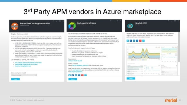 © 2015 Riverbed Technology. All rights reserved. 28 3rd Party APM vendors in Azure marketplace