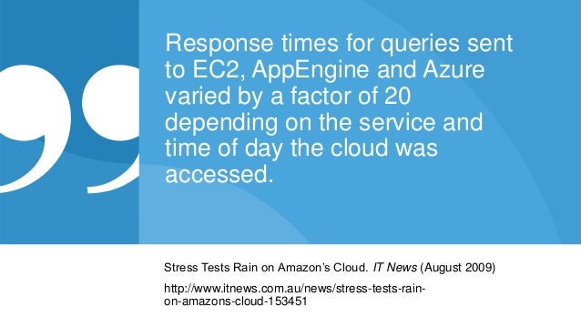 © 2015 Riverbed Technology. All rights reserved. 9 Response times for queries sent to EC2, AppEngine and Azure varied by a...