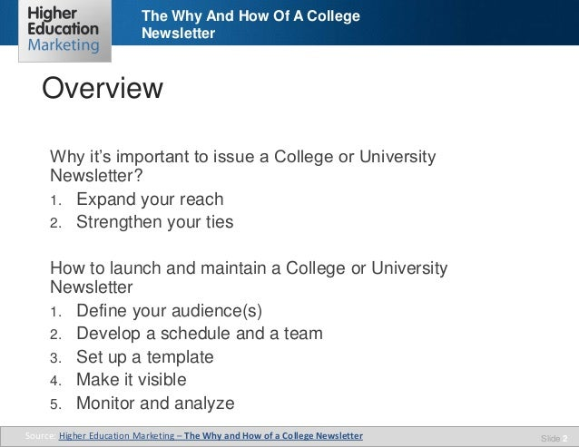the why how of a college newsletter