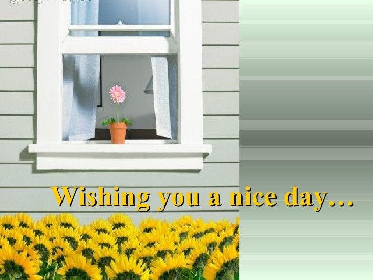 Wishing you a nice day…