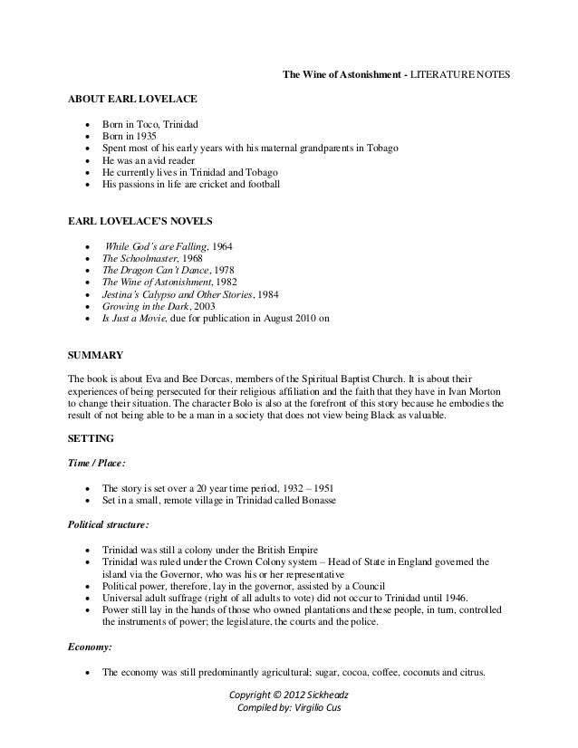 summary of wine of astonishment essay English b notes 2012 - free download as word doc  sample essay 'shabine' and  notes on wine of astonishment.