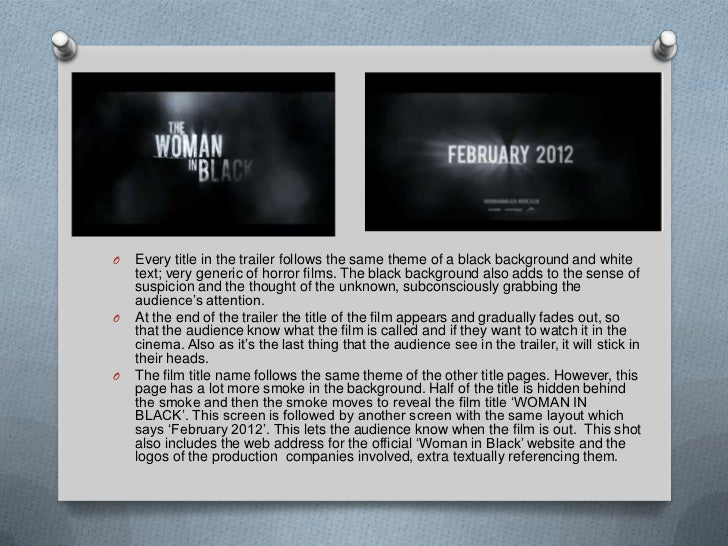 the woman in black sound analysis Through elements of mise-en-scène, such as speech, music, sound, lighting,  props,  the analysis is based on susan hill's novel the woman in black (1983) ,.