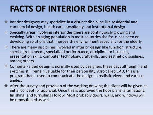 Facts education skills for interior designer for Interior design facts