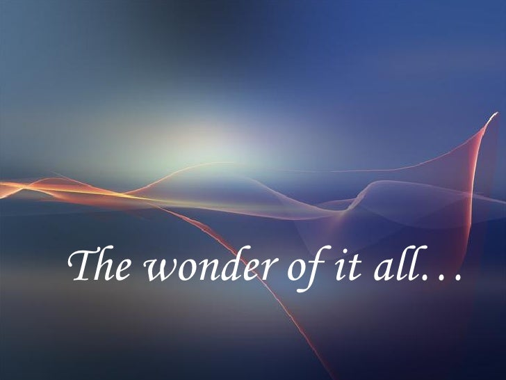 The wonder of it all…