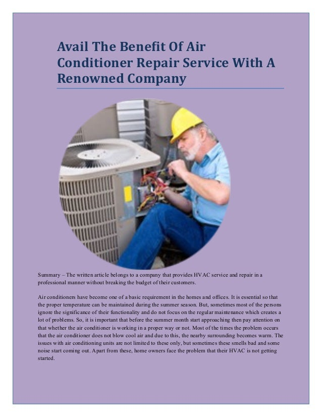 3d2d8021dd Avail The Benefit Of Air Conditioner Repair Service With A Renowned Company  Summary – The written ...