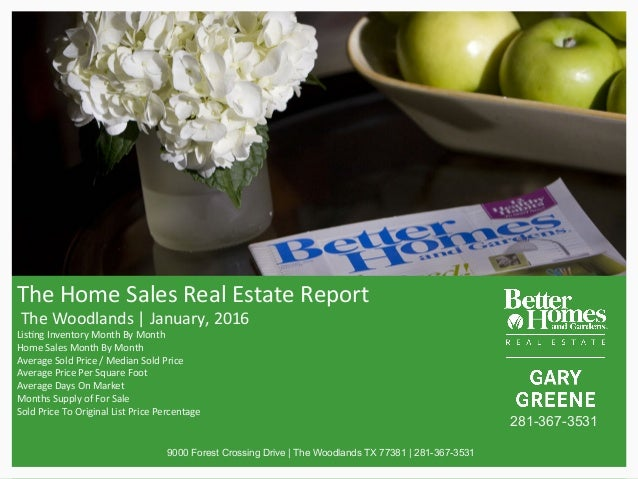 The	Home	Sales	Real	Estate	Report	 	The	Woodlands	|	January,	2016	 Lis?ng	Inventory	Month	By	Month	 Home	Sales	Month	By	Mo...