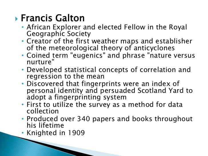 essays in eugenics galton These observations were manifested in both positive eugenics francis galton: johns hopkins university press, 2003) f galton, essays in eugenics, (orig.
