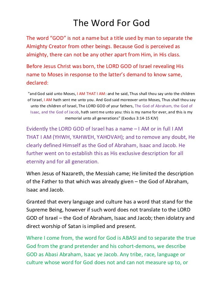 """The Word For GodThe word """"GOD"""" is not a name but a title used by man to separate theAlmighty Creator from other beings. Be..."""