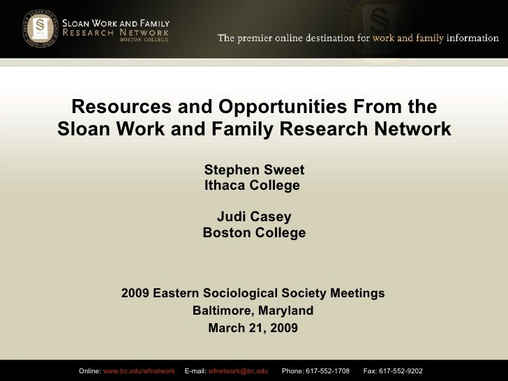 Resources and Opportunities From the Sloan Work and Family Research Network Stephen Sweet Ithaca College  Judi Casey Bosto...