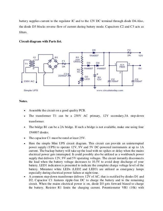 the working principle of ups rh slideshare net Battery Backup Circuit Diagram Converter Circuit Diagram
