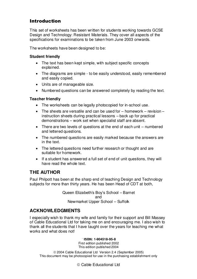  Cable Educational Ltd Introduction This set of worksheets has been written for students working towards GCSE Design and ...