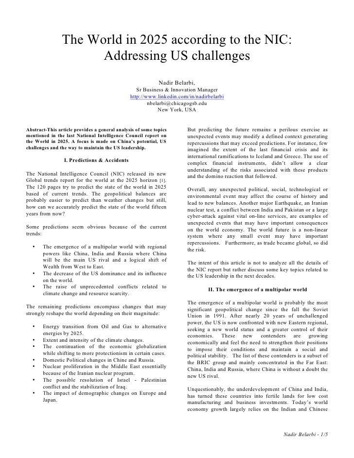 The World in 2025 according to the NIC:                       Addressing US challenges                                    ...