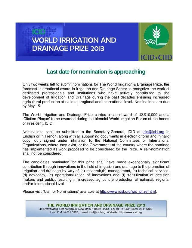 Last date for nomination is approachingOnly two weeks left to submit nominations for The World Irrigation & Drainage Prize...
