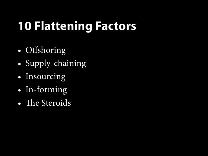 steroids as the 10th flattener in the world is flat a book by thomas l friedman View and download modern world essays examples  friedman considers insourcing to be flattener number eight,  friedman, thomas l.