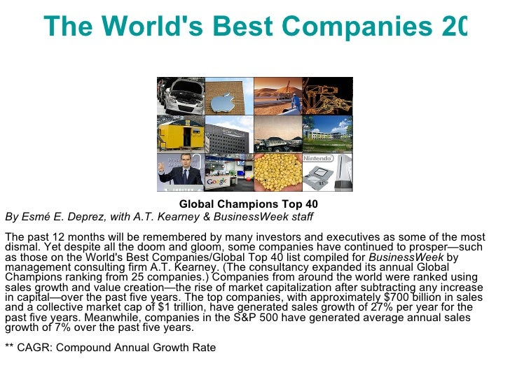 The World's Best Companies 2009 Global Champions Top 40 By Esmé E. Deprez, with A.T. Kearney & BusinessWeek staff The past...