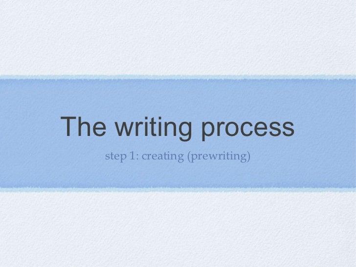 The writing process   step 1: creating (prewriting)