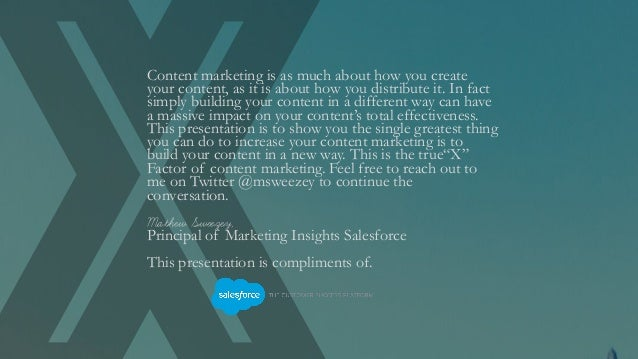 The X factor: The Secret to Better Content Marketing  Slide 2
