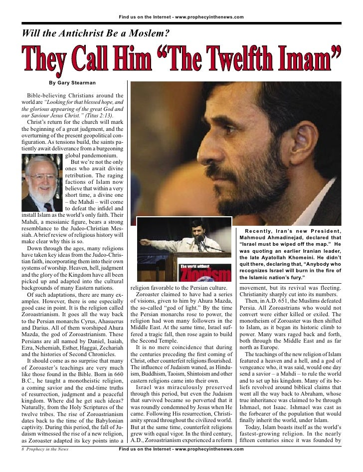 """Find us on the Internet - www.prophecyinthenews.com   Will the Antichrist Be a Moslem?   They Call Him """"The Twelfth Imam"""" ..."""