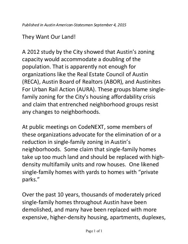Page 1 of 1	    Published	   in	   Austin	   American-­‐Statesman	   September	   4,	   2015	    	    They	   Want	   Our	...