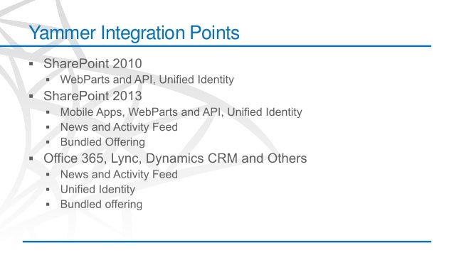 The yammer and sharepoint 2013 approach to enterprise social - Yammer office 365 integration ...