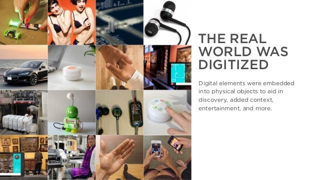 The Year That Was, The Year That Will Be THE REAL WORLD WAS DIGITIZED Digital elements were embedded into physical objects...