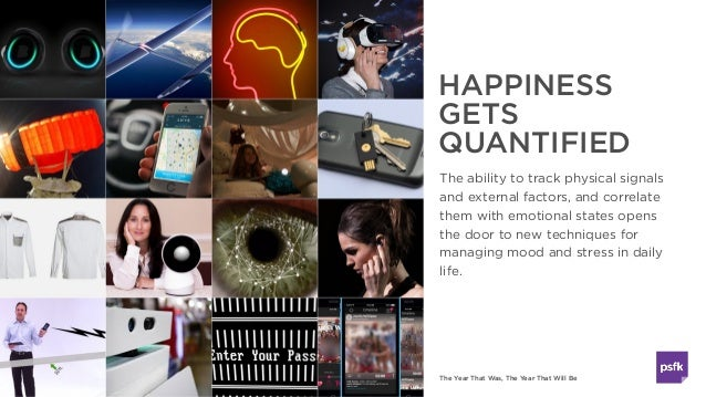 The Year That Was, The Year That Will Be HAPPINESS GETS QUANTIFIED The ability to track physical signals and external fact...
