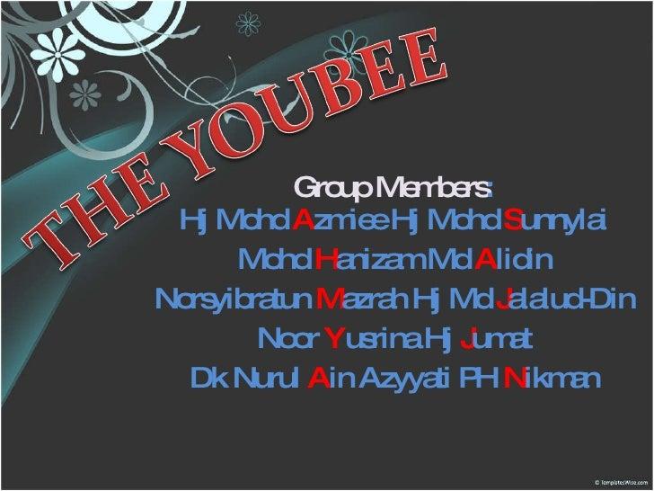 Group Members : Hj Mohd  A zmiee Hj Mohd  S unnylai Mohd  H anizam Md  A lidin Norsyibratun  M azrah Hj Md  J alalud-Din N...