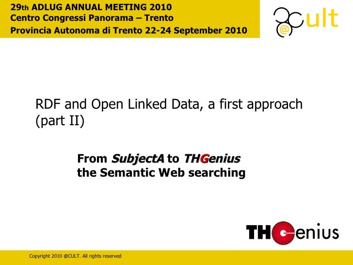 From  SubjectA  to  TH G enius   the Semantic Web searching 29 th  ADLUG ANNUAL MEETING 2010  Centro Congressi Panorama – ...