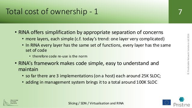 ©PredictableNetworkSolutionsLtd2016 Slicing / SDN / Virtualisation and RINA 7Total cost of ownership - 1 • RINA offers sim...