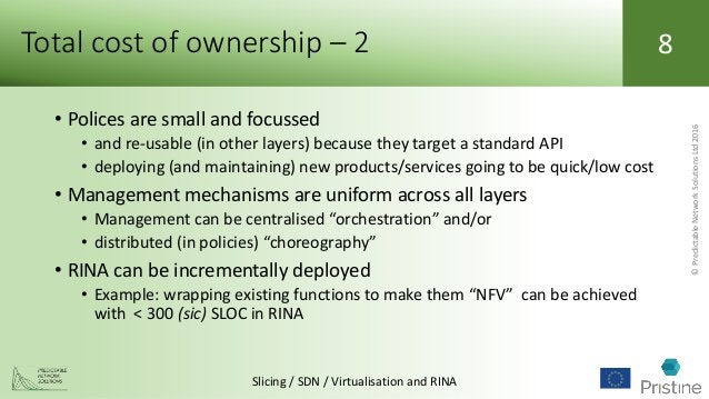 ©PredictableNetworkSolutionsLtd2016 Slicing / SDN / Virtualisation and RINA 8Total cost of ownership – 2 • Polices are sma...