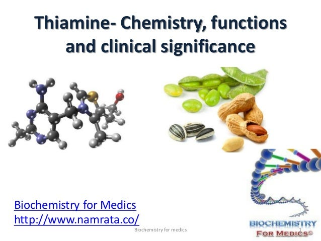 Thiamine- Chemistry, functions and clinical significance Biochemistry for Medics http://www.namrata.co/ 1Biochemistry for ...