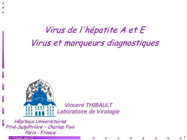 Virus de lhépatite A et E                 Virus et marqueurs diagnostiques                          Vincent THIBAULT      ...
